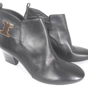 """Tory Burch 3"""" Heel Black Leather Ankle Boots"""